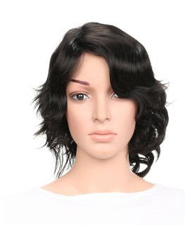 Synthetic Short Wigs for Women Black Curl Hair With Side Bangs Hairstyle 2df39c7d59