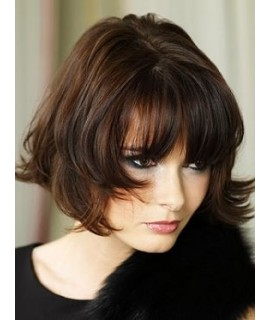 Wavy Capless Short Remy Human Hair With Bangs Brown Wig dc931a94f1ba