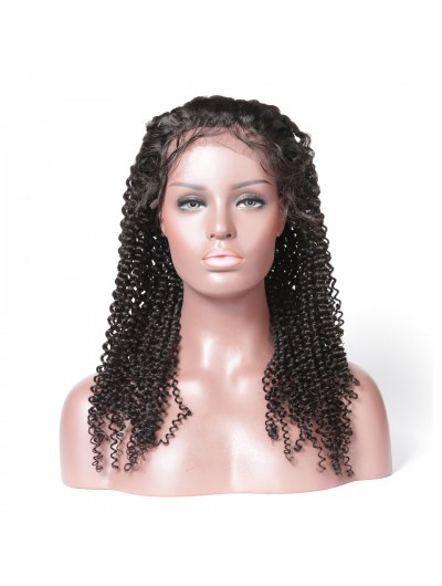 Black Women Kinky Curly Human Hair Lace Front Wigs