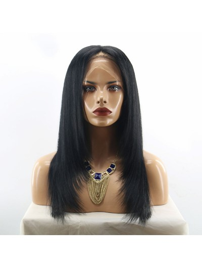 Layered Full Lace Silky Straight Human Hair Wig Brazilian Remy Hair Middle Part