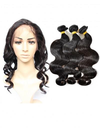 8A Premium 360 Frontal with 3 Bundles Brazilian Hair Loose Wave