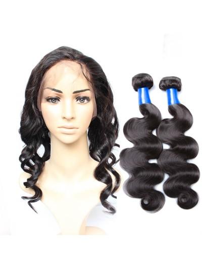 8A Premium 360 Frontal with 2 Bundles Peruvian Hair Loose Wave