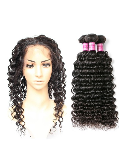7A 360 Frontal with 2 Bundles Malaysian Hair Curly