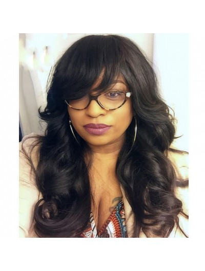 150 Density Human Hair Lace Front Wig with Bangs Baby Hair