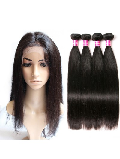 8A Premium 360 Frontal with 2 Bundles Brazilian Hair Straight