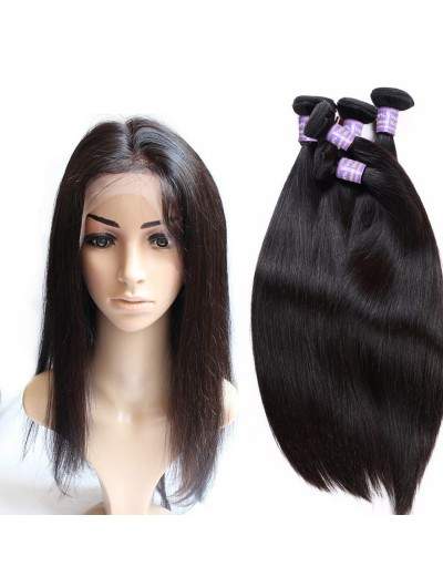 6A 360 Frontal with 2 Bundles Indian Hair Straight