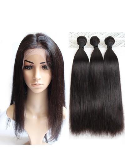 8A Premium 360 Frontal with 3 Bundles Peruvian Hair Straight