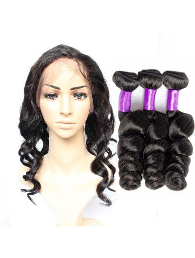 8A Premium 360 Frontal with 2 Bundles Malaysian Hair Loose Wave