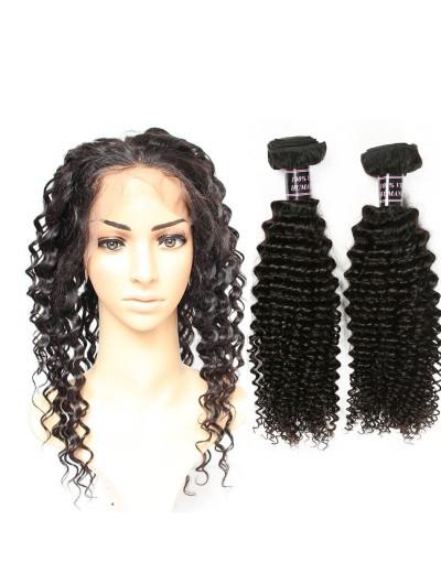 6A 360 Frontal with 2 Bundles Brazilian Hair Deep Wave