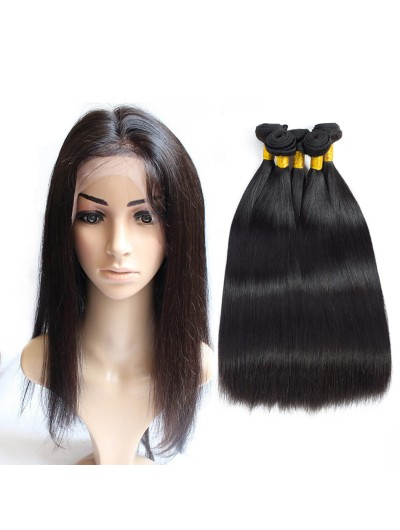 6A 360 Frontal with 3 Bundles Peruvian Hair Straight