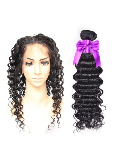7A 360 Frontal with 2 Bundles Brazilian Hair Curly