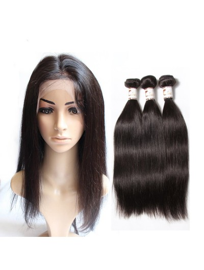 7A 360 Frontal with 2 Bundles Malaysian Hair Straight