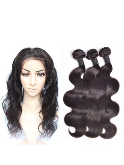 6A 360 Frontal with 3 Bundles Indian Hair Body Wave