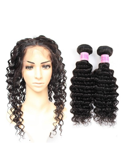 8A Premium 360 Frontal with 2 Bundles Indian Hair Deep Wave