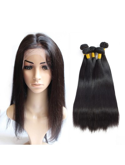 6A 360 Frontal with 3 Bundles Malaysian Hair Straight