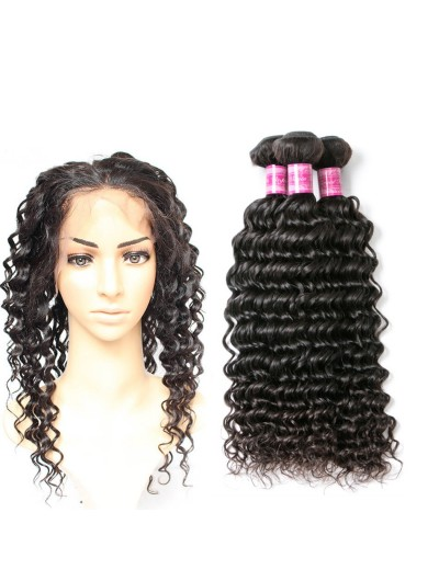 8A Premium 360 Frontal with 3 Bundles Brazilian Hair Deep Wave
