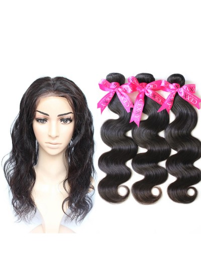 6A 360 Frontal with 3 Bundles Malaysian Hair Body Wave