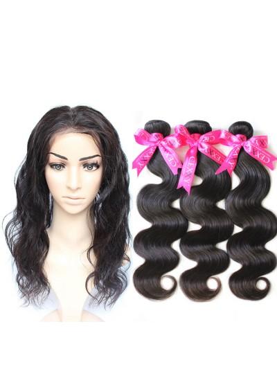 6A 360 Frontal with 3 Bundles Brazilian Hair Body Wave