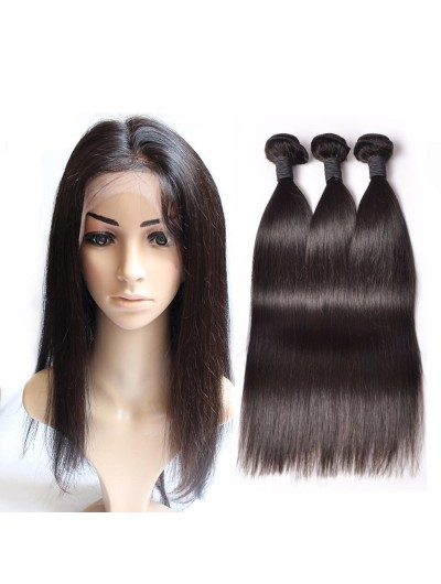 8A Premium 360 Frontal with 3 Bundles Indian Hair Straight