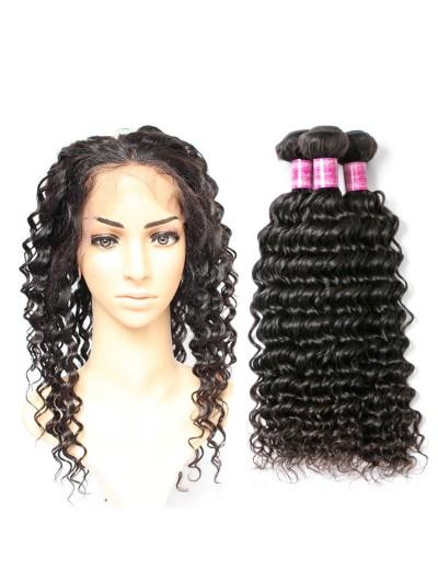 8A Premium 360 Frontal with 2 Bundles Peruvian Hair Deep Wave