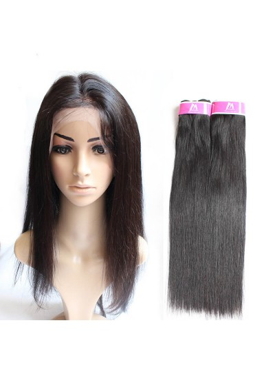7A 360 Frontal with 2 Bundles Peruvian Hair Straight