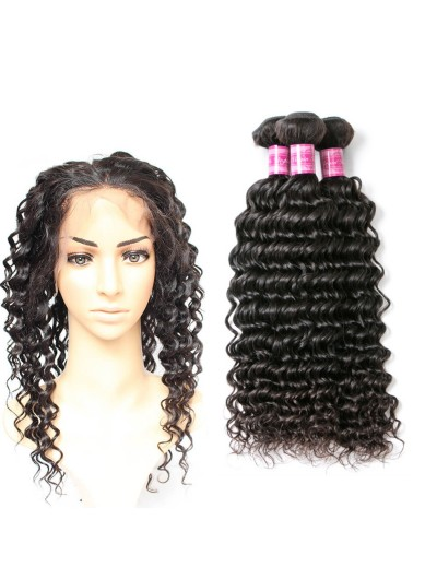 7A 360 Frontal with 3 Bundles Indian Hair Curly