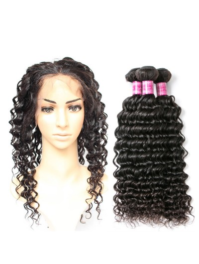 8A Premium 360 Frontal with 2 Bundles Brazilian Hair Deep Wave