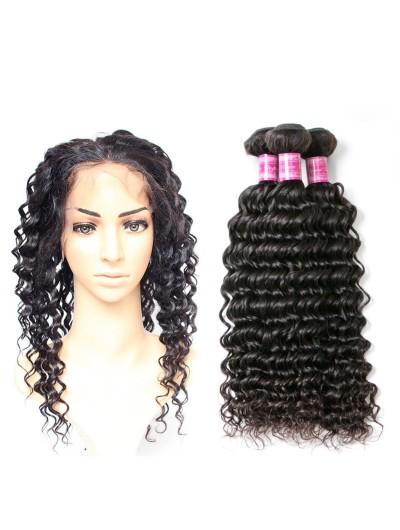 6A 360 Frontal with 3 Bundles Malaysian Hair Deep Wave