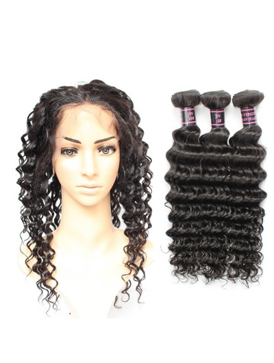 7A 360 Frontal with 2 Bundles Indian Hair Curly