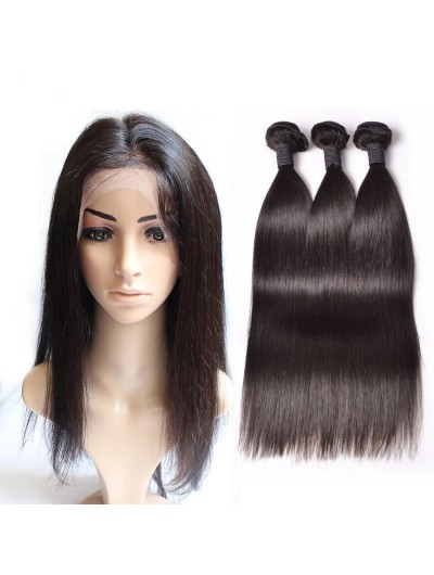7A 360 Frontal with 3 Bundles Indian Hair Straight