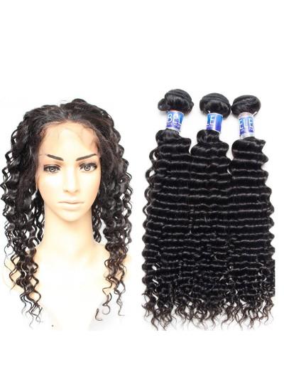 8A Premium 360 Frontal with 3 Bundles Peruvian Hair Deep Wave