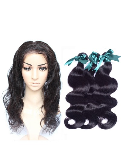 7A 360 Frontal with 2 Bundles Malaysian Hair Body Wave