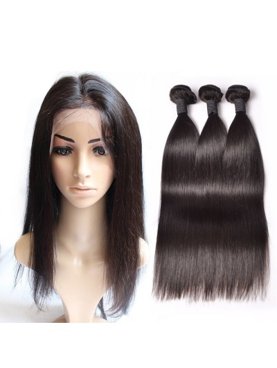 6A 360 Frontal with 2 Bundles Peruvian Hair Straight