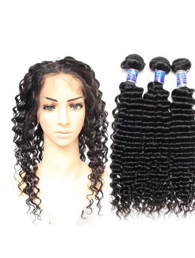 6A 360 Frontal with 2 Bundles Malaysian Hair Deep Wave