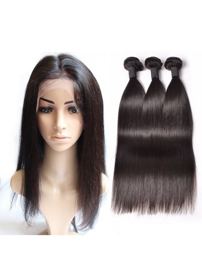 6A 360 Frontal with 3 Bundles Brazilian Hair Straight