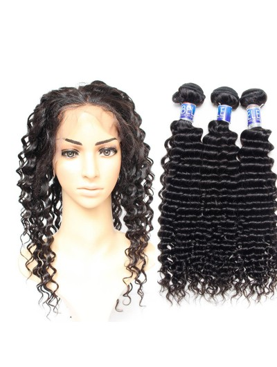 7A 360 Frontal with 2 Bundles Peruvian Hair Curly