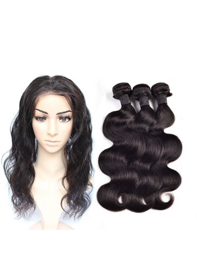 6A 360 Frontal with 3 Bundles Peruvian Hair Body Wave