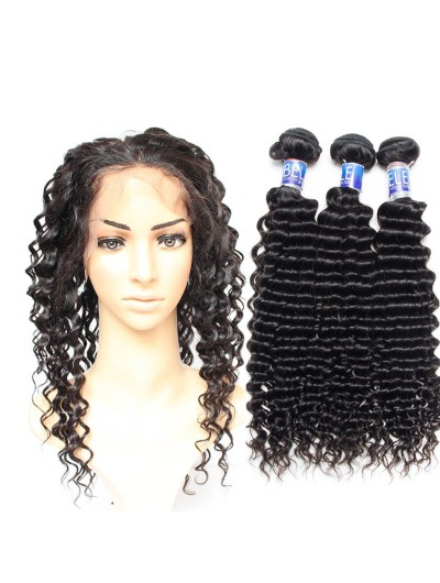 6A 360 Frontal with 2 Bundles Indian Hair Deep Wave