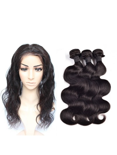 8A Premium 360 Frontal with 3 Bundles Indian Hair Body Wave