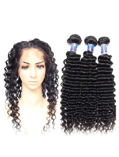 6A 360 Frontal with 3 Bundles Indian Hair Deep Wave