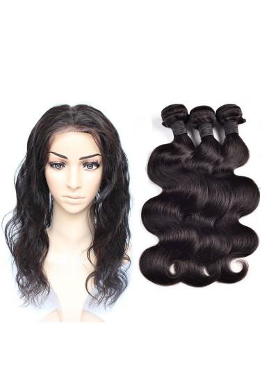8A Premium 360 Frontal with 3 Bundles Peruvian Hair Body Wave