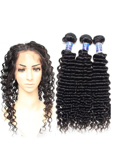 8A Premium 360 Frontal with 3 Bundles Indian Hair Deep Wave