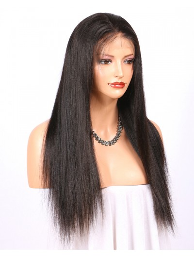 Glueless Full Lace Wigs With Baby Hair Natural Color Brazilian Remy Human Hair Wigs Yaki Straight 130 Density