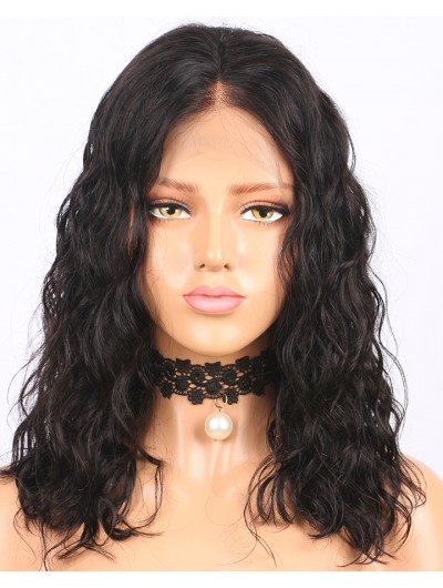 150% Density Human Hair Bob Wigs Short Brazilian Lace Front Wigs Wavy Remy Hair With Baby Hair Bleacked Knots