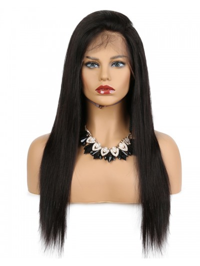 Lace Front Human Hair Wigs For Black Women Remy Brazilian Straight Black Hair Pre Plucked With Natural Hairline