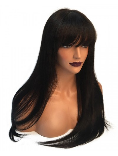 150% Straight Lace Front Human Hair Wigs With Bangs Brazilian Remy Pre  Plucked Bleacehd Knots Lace Wigs For Black Women b47624d4ce