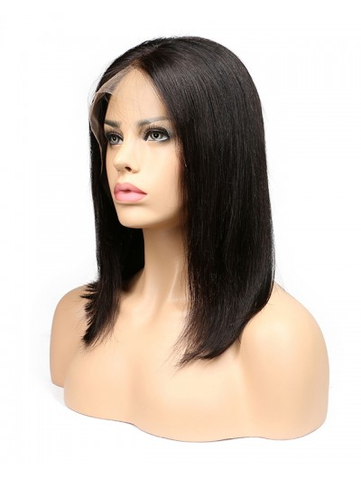Human Hair Short Bob Wigs For Black Women Brazilian Remy Hair Lace Front Human Hair Wigs Bleached Knots