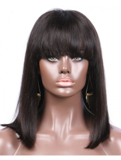 Straight Lace Front Wigs with Bangs Indian Human Hair Bob Natural Color Non-Remy 8-16'' 130denisty for Black women