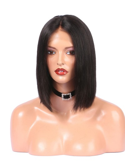 Lace Front Human Hair Wigs For Black Women Straight Full End Brazilian Remy Hair Short Bob Wig Middle Part Pre Plucked