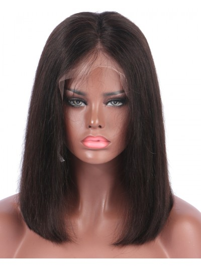 150% Density Short Bob Lace Front Wigs Deep Parting Straight Peruvian Human Hair Non-remy For Black Women